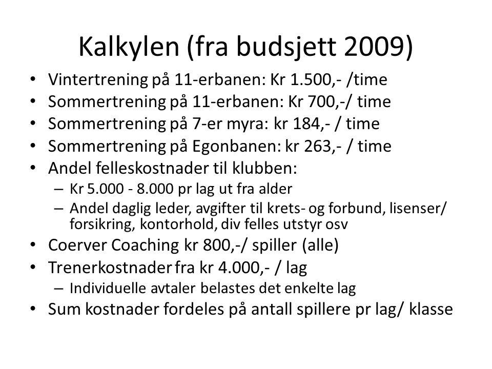 Kalkylen (fra budsjett 2009) Vintertrening på 11-erbanen: Kr 1.500,- /time Sommertrening på 11-erbanen: Kr 700,-/ time Sommertrening på 7-er myra: kr