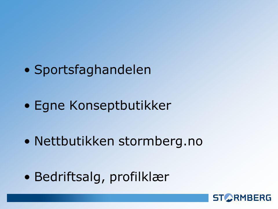 Sportsfaghandelen Egne Konseptbutikker Nettbutikken stormberg.no Bedriftsalg, profilklær