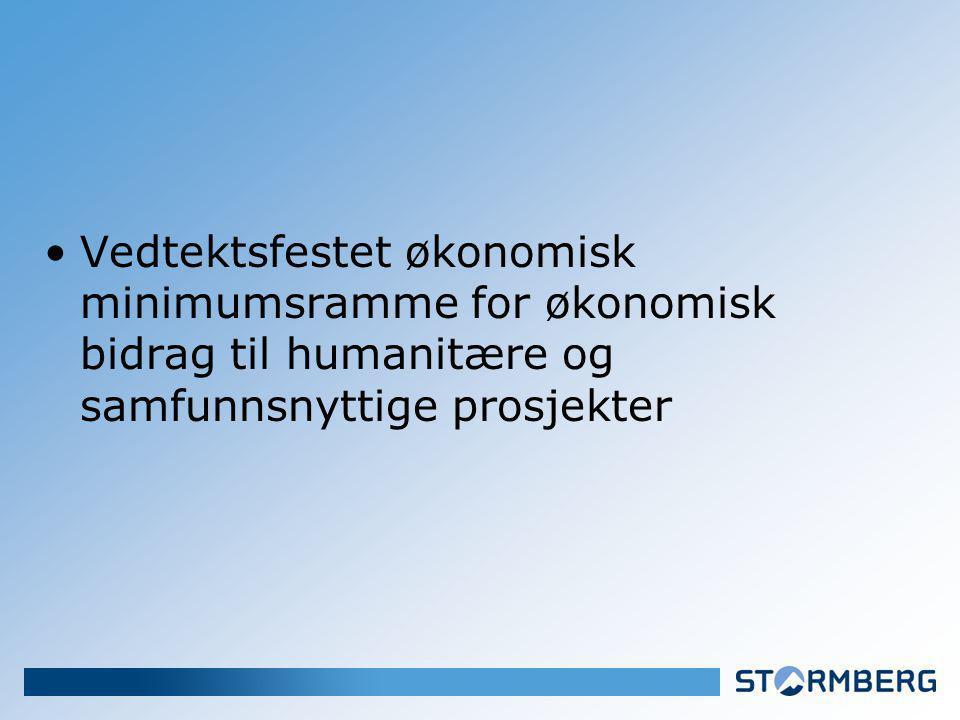 Vedtektsfestet økonomisk minimumsramme for økonomisk bidrag til humanitære og samfunnsnyttige prosjekter