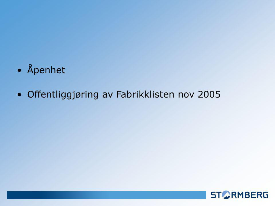Åpenhet Offentliggjøring av Fabrikklisten nov 2005