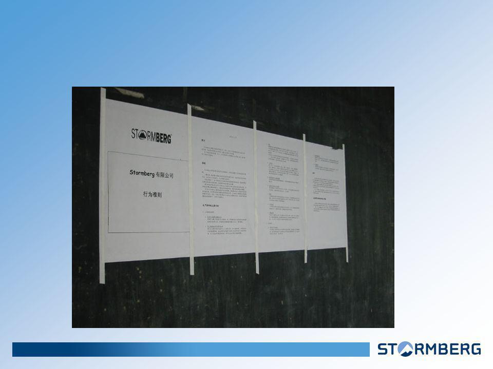Stormberg AS Endringer på fabrikkene avdekket gjennom de eksterne inspeksjonene Holdningsendring hos fabrikkeierne