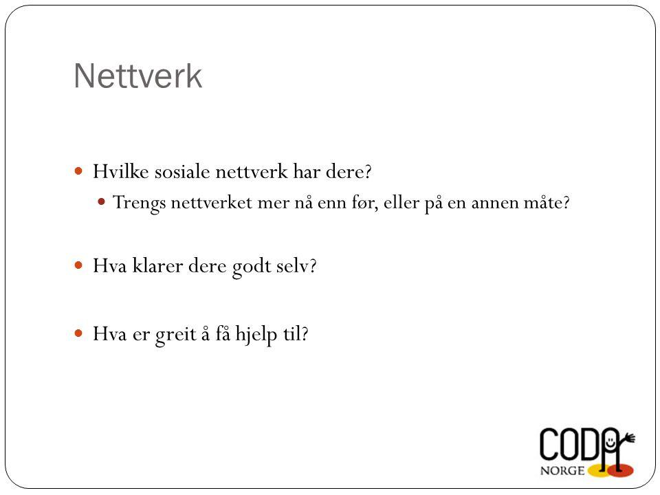 Nettverk Hvilke sosiale nettverk har dere.