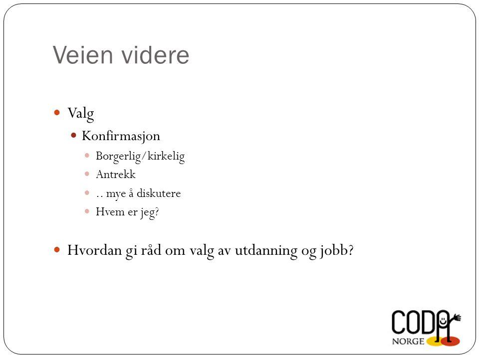 Veien videre Valg Konfirmasjon Borgerlig/kirkelig Antrekk.. mye å diskutere Hvem er jeg? Hvordan gi råd om valg av utdanning og jobb?