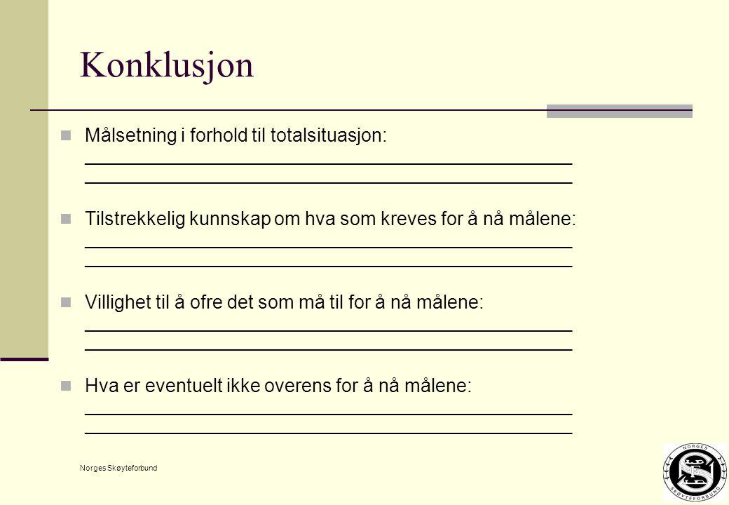 Norges Skøyteforbund Konklusjon Målsetning i forhold til totalsituasjon: ___________________________________________________________________ Tilstrekkelig kunnskap om hva som kreves for å nå målene: ___________________________________________________________________ Villighet til å ofre det som må til for å nå målene: ___________________________________________________________________ Hva er eventuelt ikke overens for å nå målene: ___________________________________________________________________