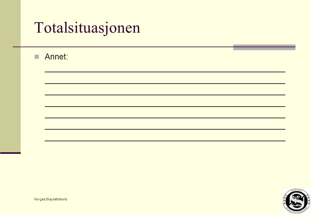 Norges Skøyteforbund Totalsituasjonen Annet: ______________________________________________________