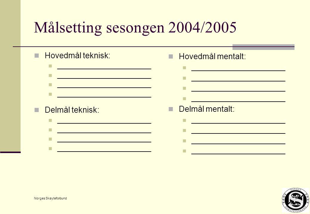 Norges Skøyteforbund Målsetting sesongen 2004/2005 Hovedmål teknisk: ________________________ Delmål teknisk: ________________________ Hovedmål mentalt: ________________________ Delmål mentalt: ________________________