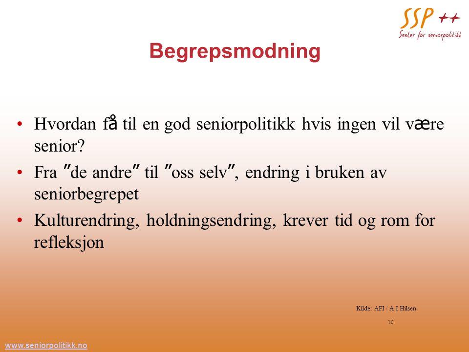 www.seniorpolitikk.no 10 Begrepsmodning Hvordan f å til en god seniorpolitikk hvis ingen vil v æ re senior.