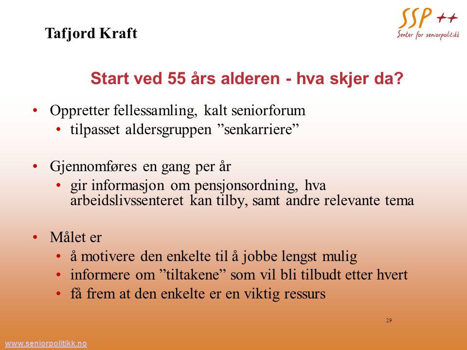 www.seniorpolitikk.no 29 Start ved 55 års alderen - hva skjer da.