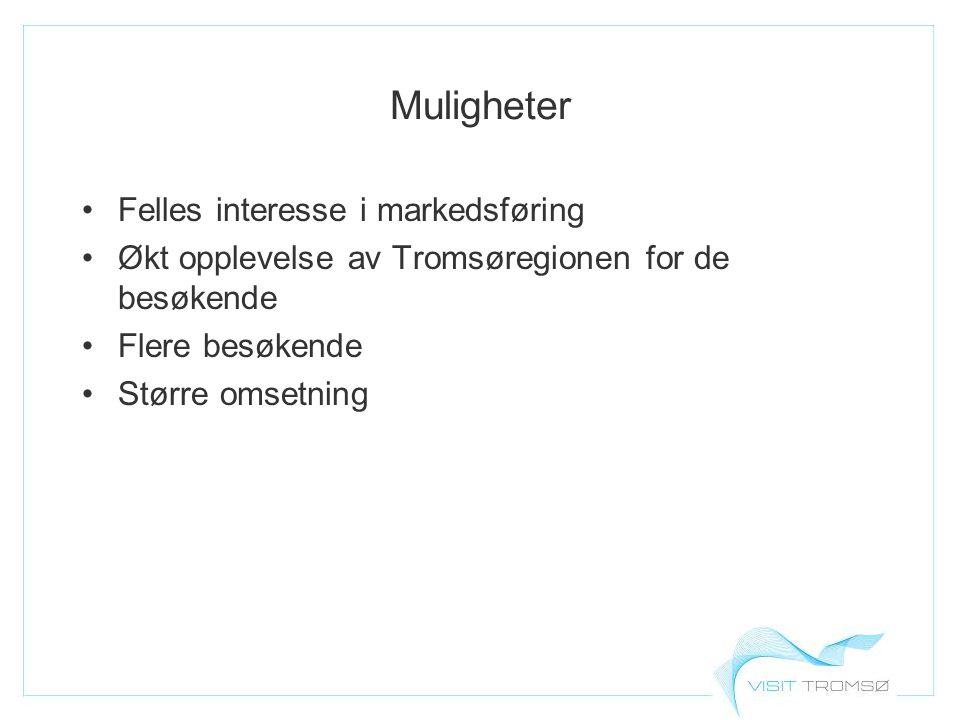Muligheter Felles interesse i markedsføring Økt opplevelse av Tromsøregionen for de besøkende Flere besøkende Større omsetning