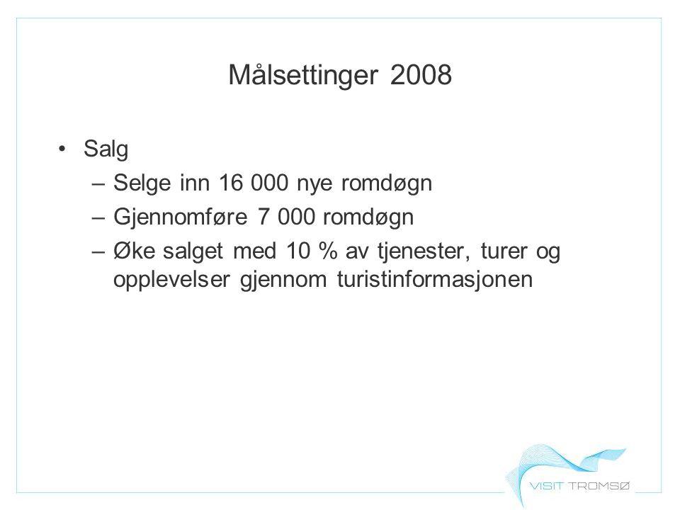 Målsettinger 2008 Salg –Selge inn 16 000 nye romdøgn –Gjennomføre 7 000 romdøgn –Øke salget med 10 % av tjenester, turer og opplevelser gjennom turistinformasjonen