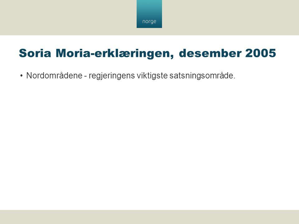 Soria Moria-erklæringen, desember 2005 Nordområdene - regjeringens viktigste satsningsområde.