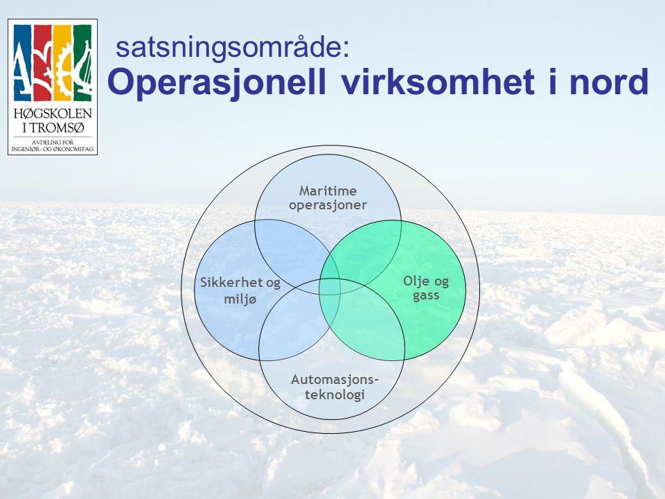 3 satsningsområde: Operasjonell virksomhet i nord Sikkerhet og miljø Maritime operasjoner Automasjons- teknologi Olje og gass