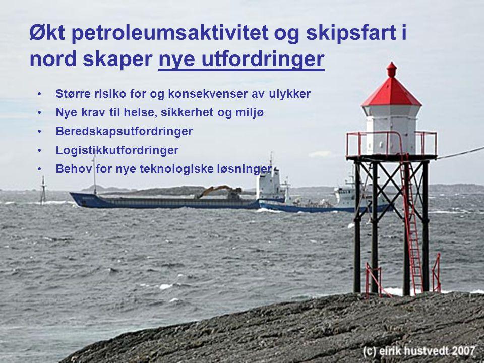 4 Økt petroleumsaktivitet og skipsfart i nord skaper nye utfordringer Større risiko for og konsekvenser av ulykker Nye krav til helse, sikkerhet og miljø Beredskapsutfordringer Logistikkutfordringer Behov for nye teknologiske løsninger