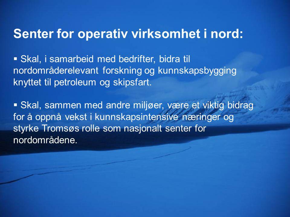 Økt kompetanse og innovasjon i næringslivet Senter for operativ virksomhet i nord Anvendt forskning Næringsliv