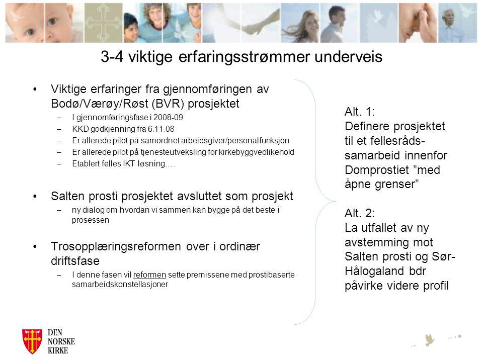 3-4 viktige erfaringsstrømmer underveis Viktige erfaringer fra gjennomføringen av Bodø/Værøy/Røst (BVR) prosjektet –I gjennomføringsfase i 2008-09 –KKD godkjenning fra 6.11.08 –Er allerede pilot på samordnet arbeidsgiver/personalfunksjon –Er allerede pilot på tjenesteutveksling for kirkebyggvedlikehold –Etablert felles IKT løsning….