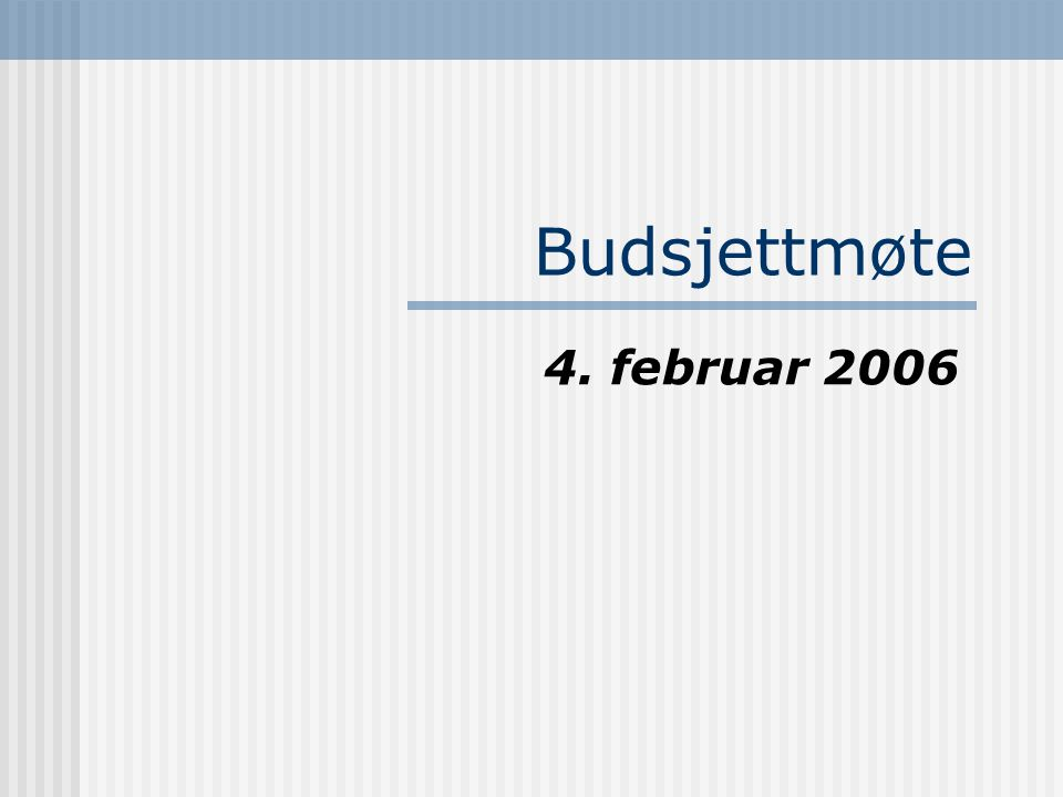 Budsjettmøte 4. februar 2006