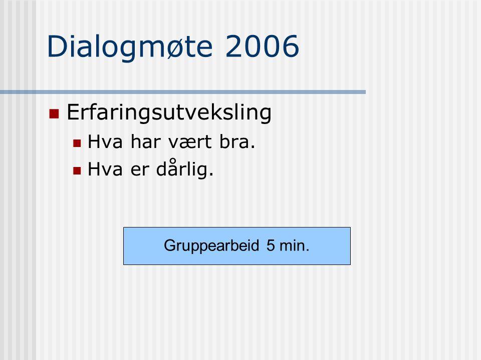 Dialogmøte 2006 Erfaringsutveksling Hva har vært bra. Hva er dårlig. Gruppearbeid 5 min.