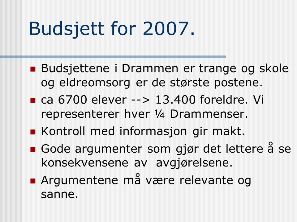 Budsjett for 2007. Budsjettene i Drammen er trange og skole og eldreomsorg er de største postene.