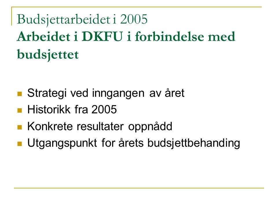 Budsjettarbeidet i 2005 Arbeidet i DKFU i forbindelse med budsjettet Strategi ved inngangen av året Historikk fra 2005 Konkrete resultater oppnådd Utg