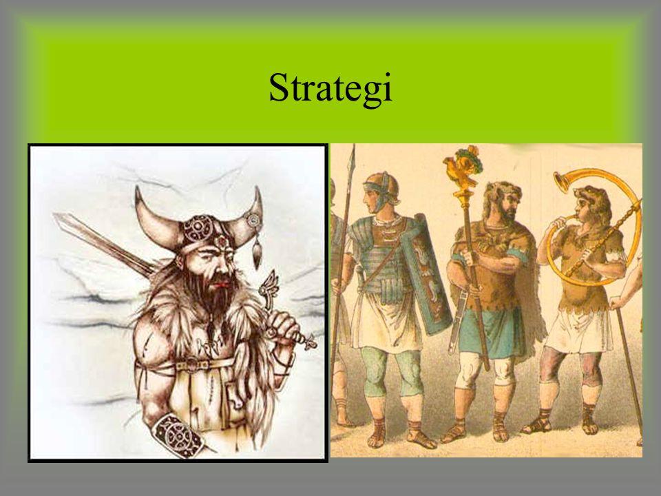 Strategi VIKIINGER: Ingen takktikk, gikk rett på. Drepte alle de så ingen ble tatt til slaver. Hadde kun en hjelm kansje en brynje. ROMERENE: Hadde go