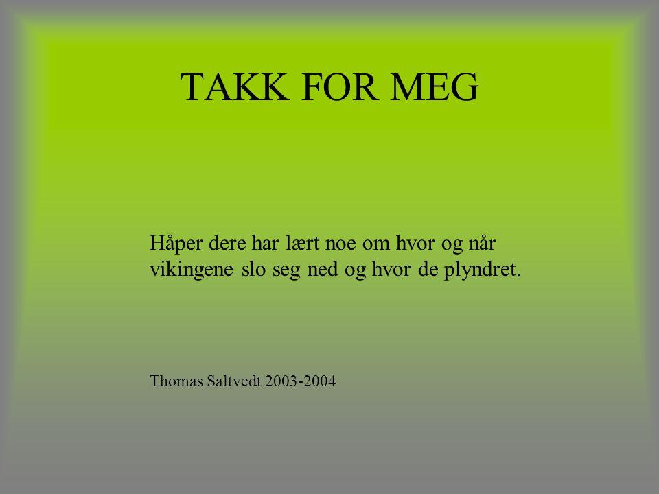 TAKK FOR MEG Håper dere har lært noe om hvor og når vikingene slo seg ned og hvor de plyndret. Thomas Saltvedt 2003-2004