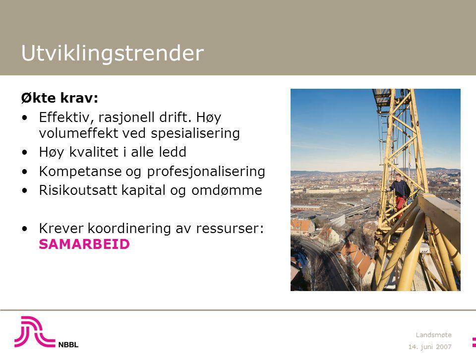 14.juni 2007 Landsmøte Utviklingstrender Økte krav: Effektiv, rasjonell drift.