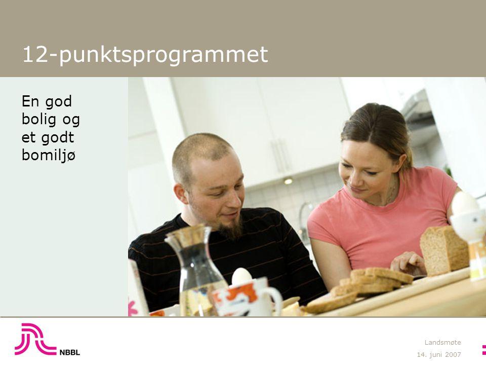 14. juni 2007 Landsmøte 12-punktsprogrammet En god bolig og et godt bomiljø