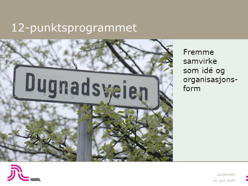 14. juni 2007 Landsmøte 12-punktsprogrammet Fremme samvirke som idé og organisasjons- form