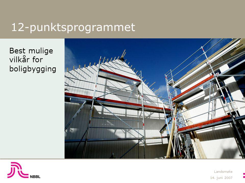 14. juni 2007 Landsmøte 12-punktsprogrammet Best mulige vilkår for boligbygging