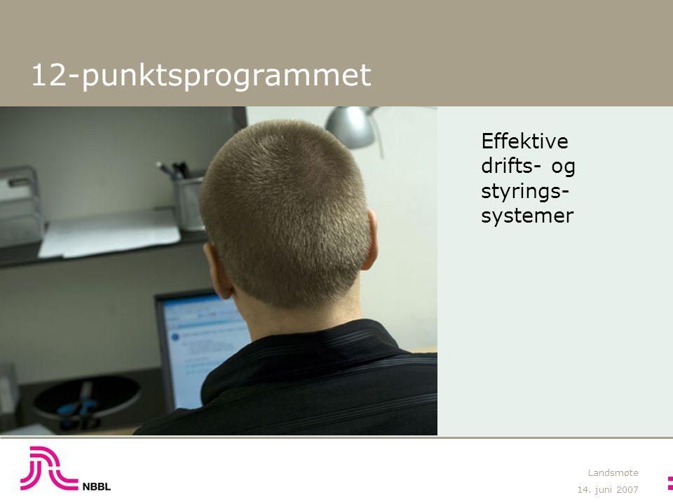 14. juni 2007 Landsmøte 12-punktsprogrammet Effektive drifts- og styrings- systemer