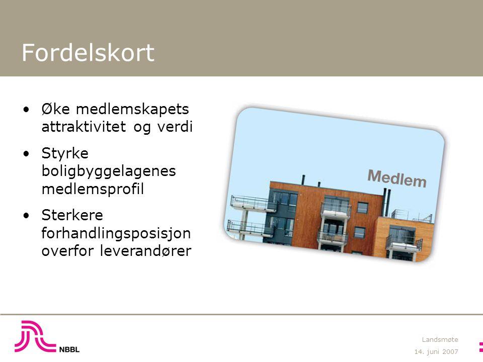 14. juni 2007 Landsmøte Fordelskort Øke medlemskapets attraktivitet og verdi Styrke boligbyggelagenes medlemsprofil Sterkere forhandlingsposisjon over
