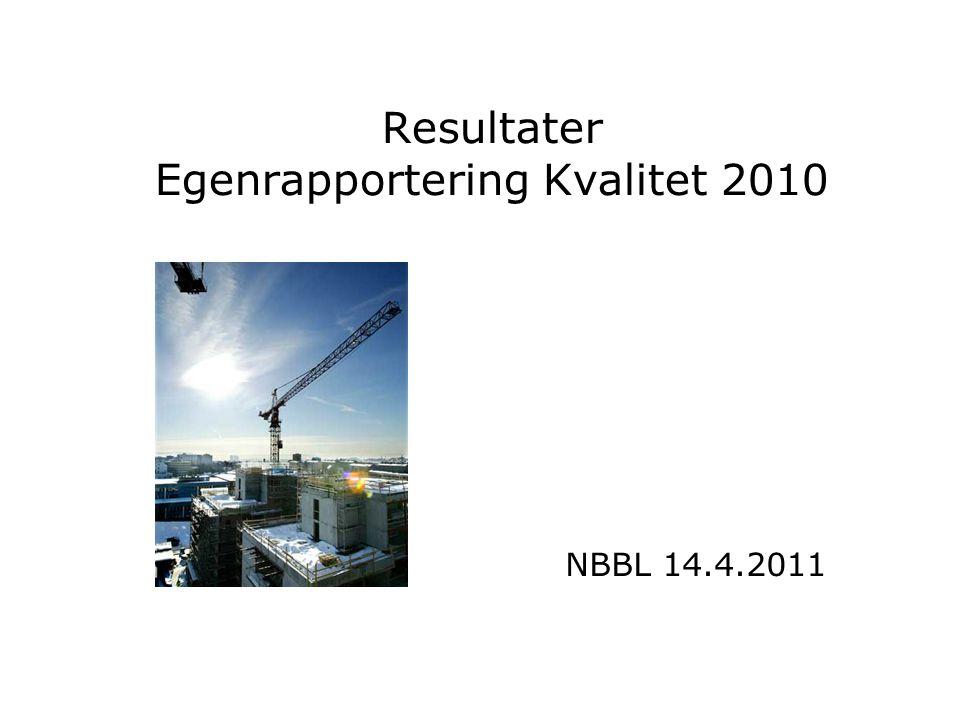 Resultater Egenrapportering Kvalitet 2010 NBBL 14.4.2011