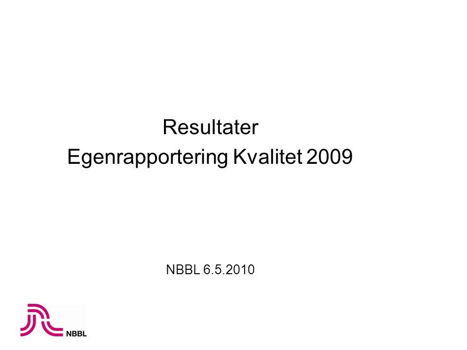Resultater Egenrapportering Kvalitet 2009 NBBL 6.5.2010