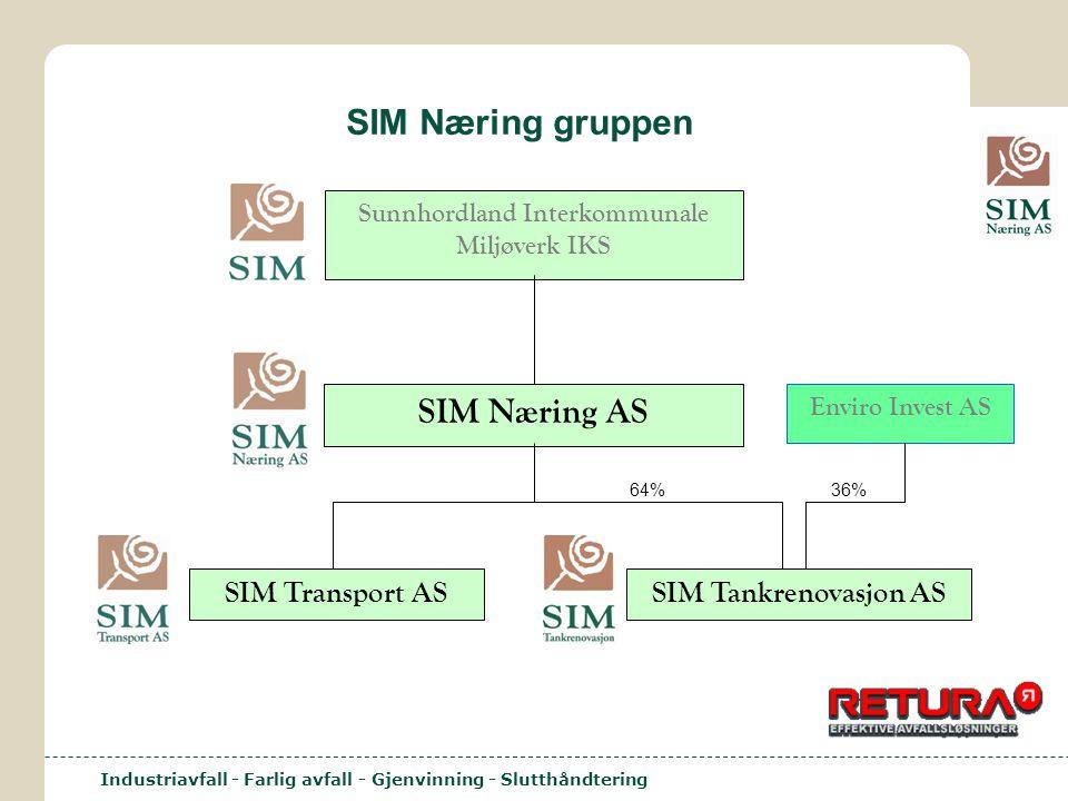 Industriavfall - Farlig avfall - Gjenvinning - Slutthåndtering SIM Næring gruppen Sunnhordland Interkommunale Miljøverk IKS SIM Næring AS SIM Transpor