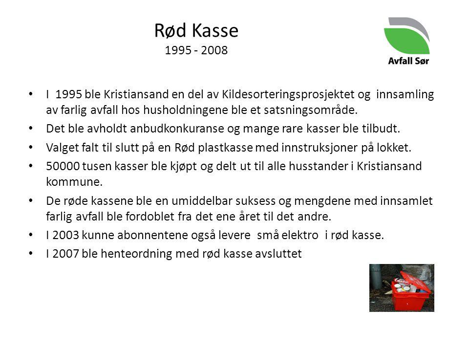 Rød Kasse 1995 - 2008 I 1995 ble Kristiansand en del av Kildesorteringsprosjektet og innsamling av farlig avfall hos husholdningene ble et satsningsom
