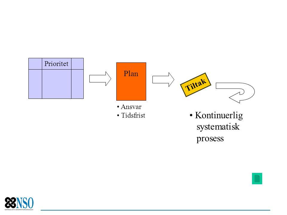 Plan Tiltak Prioritet Ansvar Tidsfrist Kontinuerlig systematisk prosess