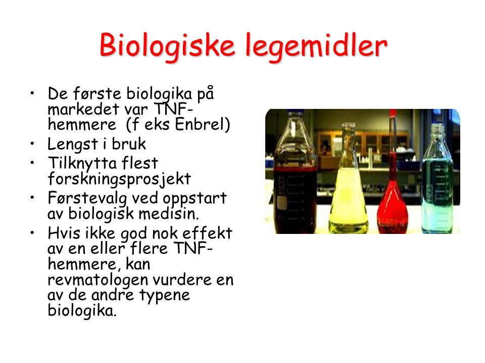 Biologiske legemidler De første biologika på markedet var TNF- hemmere (f eks Enbrel) Lengst i bruk Tilknytta flest forskningsprosjekt Førstevalg ved