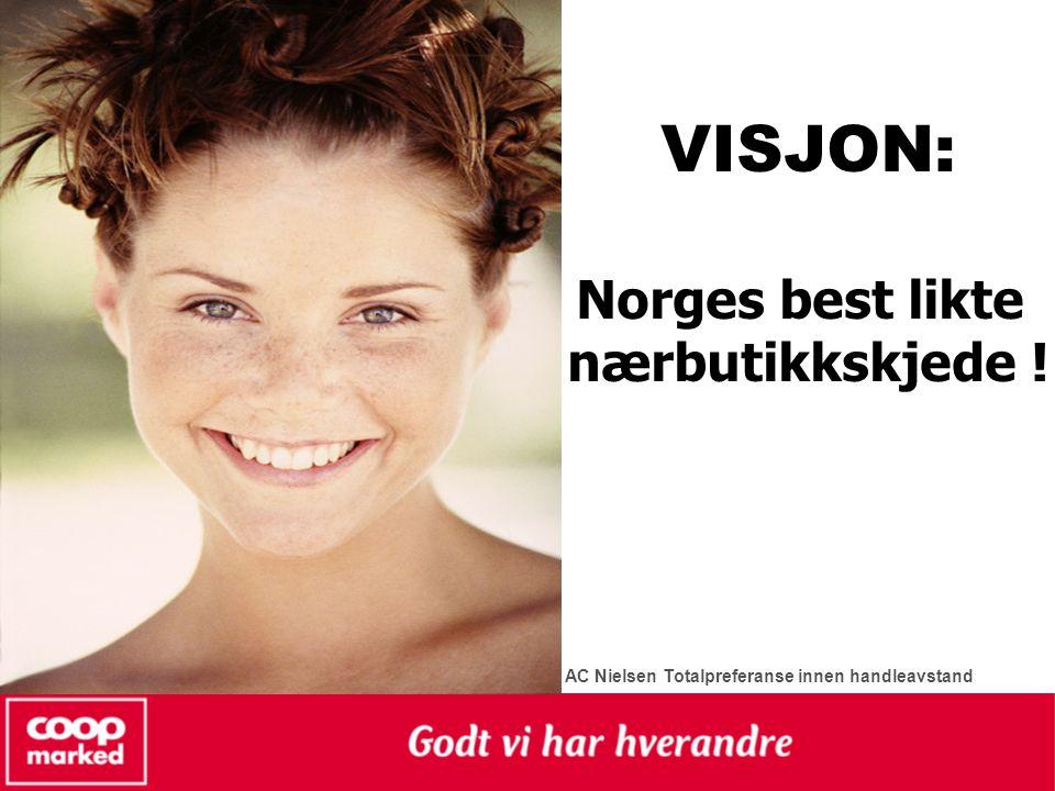 VISJON: Norges best likte nærbutikkskjede ! AC Nielsen Totalpreferanse innen handleavstand