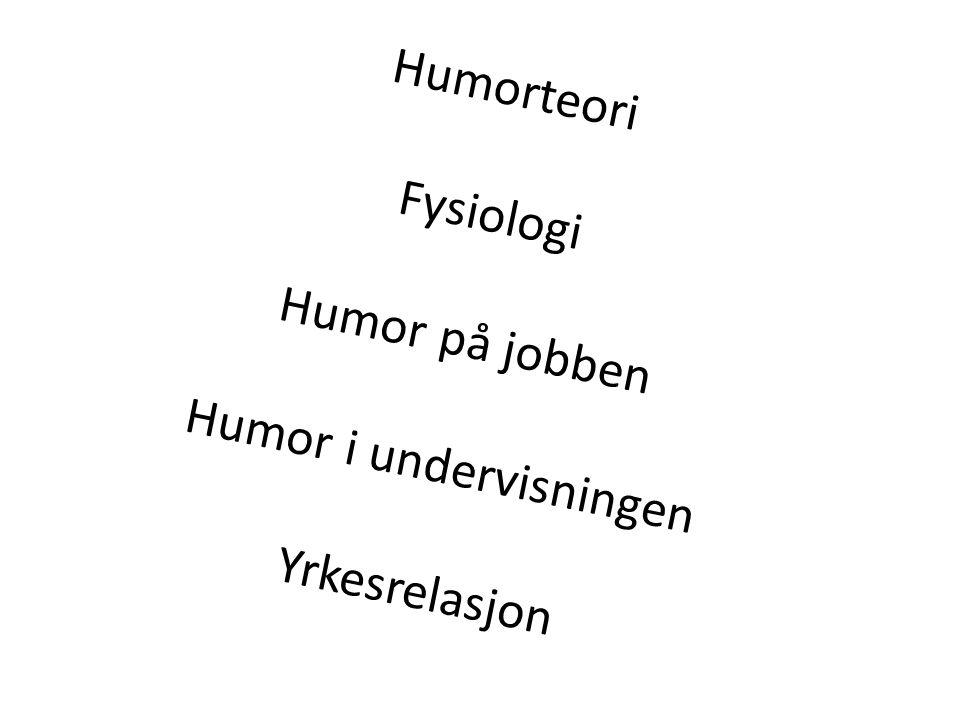 Humorteori Fysiologi Humor på jobben Humor i undervisningen Yrkesrelasjon
