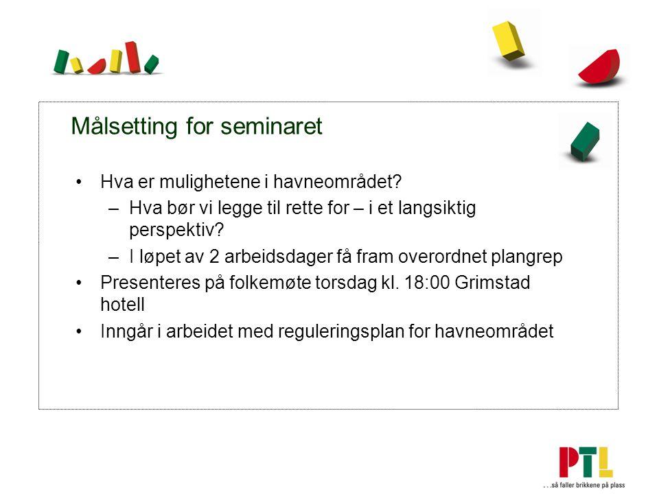 Målsetting for seminaret Hva er mulighetene i havneområdet.