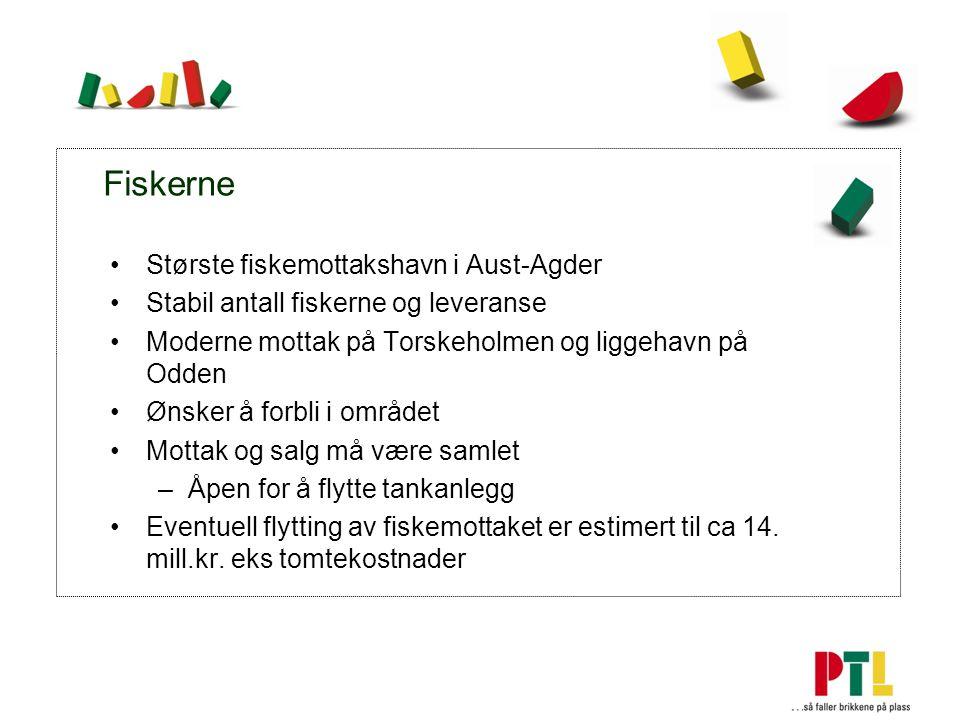 Fiskerne Største fiskemottakshavn i Aust-Agder Stabil antall fiskerne og leveranse Moderne mottak på Torskeholmen og liggehavn på Odden Ønsker å forbli i området Mottak og salg må være samlet –Åpen for å flytte tankanlegg Eventuell flytting av fiskemottaket er estimert til ca 14.