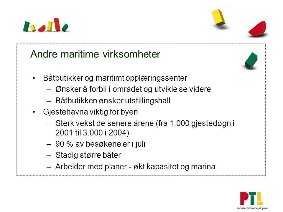 Andre maritime virksomheter Båtbutikker og maritimt opplæringssenter –Ønsker å forbli i området og utvikle se videre –Båtbutikken ønsker utstillingshall Gjestehavna viktig for byen –Sterk vekst de senere årene (fra 1.000 gjestedøgn i 2001 til 3.000 i 2004) –90 % av besøkene er i juli –Stadig større båter –Arbeider med planer - økt kapasitet og marina