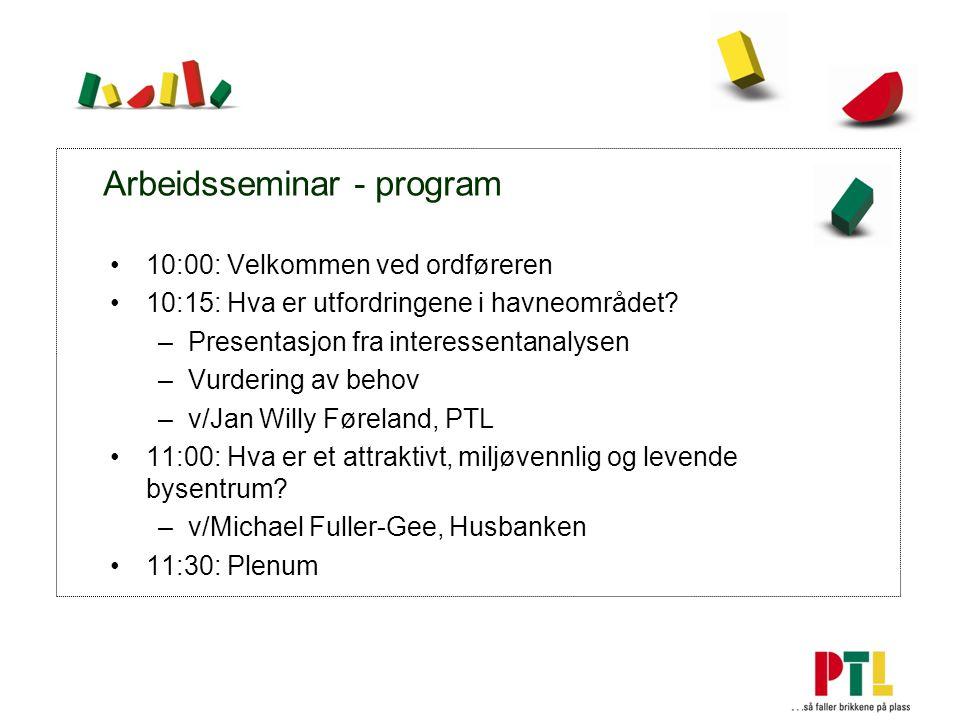 Arbeidsseminar - program 10:00: Velkommen ved ordføreren 10:15: Hva er utfordringene i havneområdet.