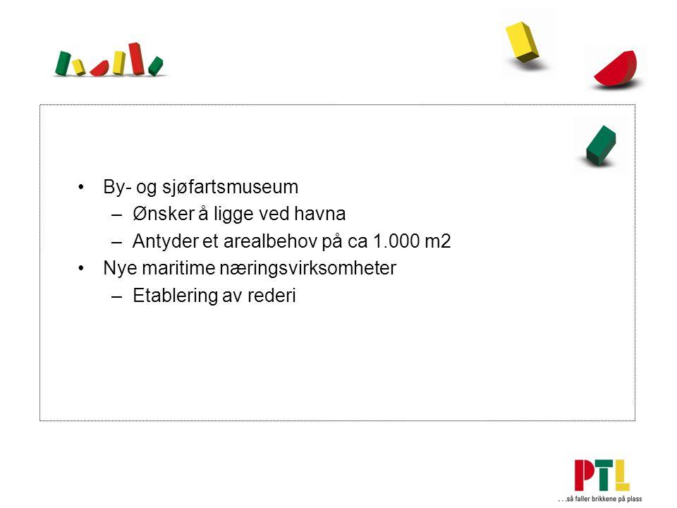 By- og sjøfartsmuseum –Ønsker å ligge ved havna –Antyder et arealbehov på ca 1.000 m2 Nye maritime næringsvirksomheter –Etablering av rederi