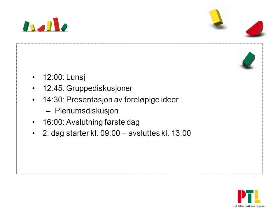 12:00: Lunsj 12:45: Gruppediskusjoner 14:30: Presentasjon av foreløpige ideer –Plenumsdiskusjon 16:00: Avslutning første dag 2.