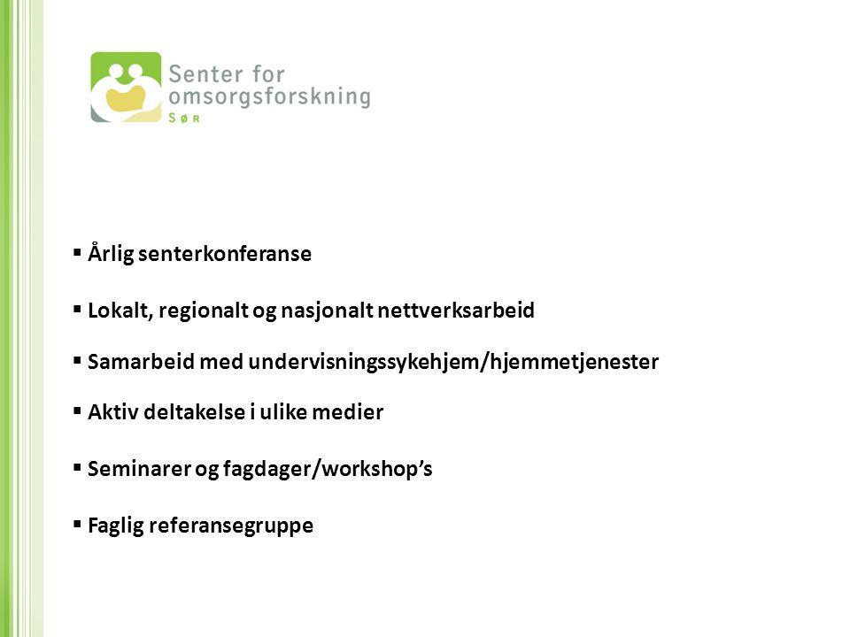  Årlig senterkonferanse  Lokalt, regionalt og nasjonalt nettverksarbeid  Samarbeid med undervisningssykehjem/hjemmetjenester  Aktiv deltakelse i u