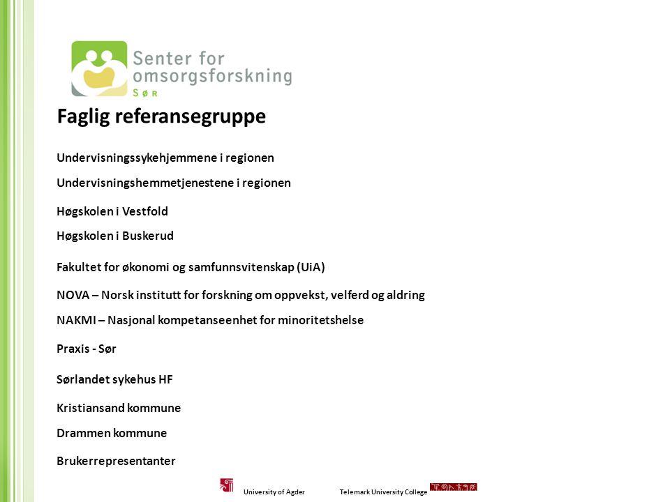 Faglig referansegruppe Undervisningssykehjemmene i regionen Undervisningshemmetjenestene i regionen Høgskolen i Vestfold Høgskolen i Buskerud Fakultet