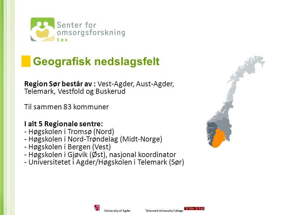 Region Sør består av : Vest-Agder, Aust-Agder, Telemark, Vestfold og Buskerud Til sammen 83 kommuner I alt 5 Regionale sentre: - Høgskolen i Tromsø (N