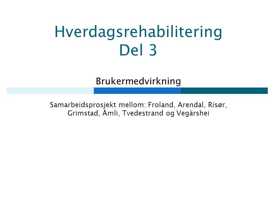 Hverdagsrehabilitering Del 3 Brukermedvirkning Samarbeidsprosjekt mellom: Froland, Arendal, Risør, Grimstad, Åmli, Tvedestrand og Vegårshei