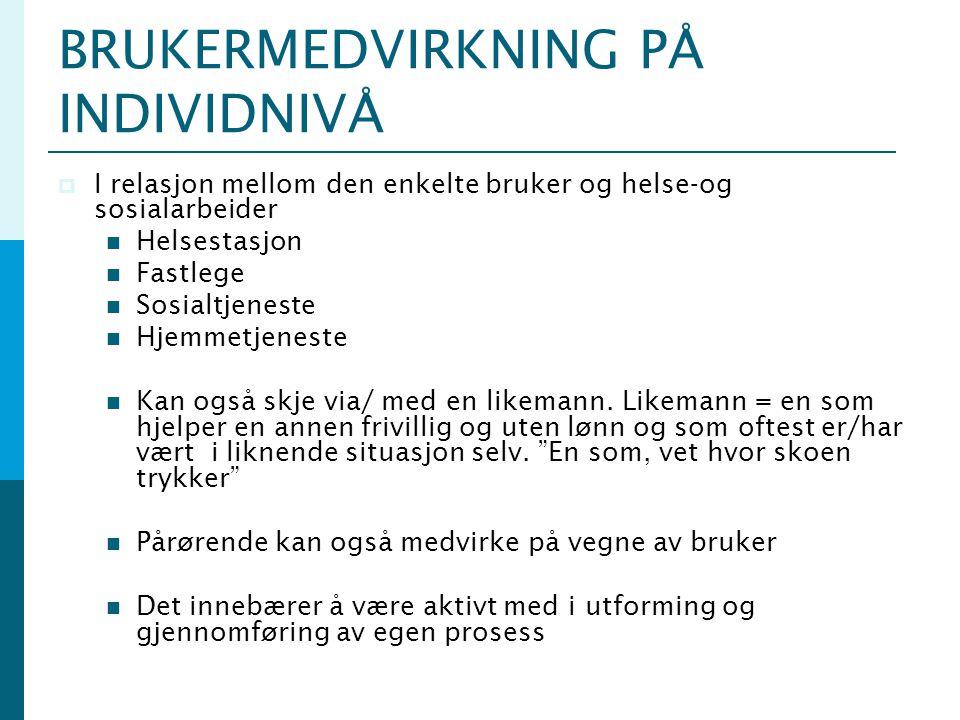 HVA FREMMER BRUKERMEDVIRKNING .